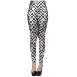 Sexy Leggings, Fashion High Waist Legging Pants, Cheap Fish Scale Pattern Leggings, Ladies Silver Leggings, #L10260