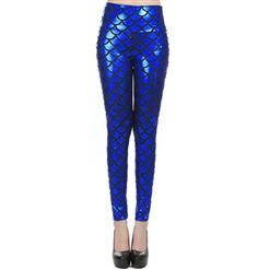 Sexy Leggings, Fashion High Waist Legging Pants, Cheap Fish Scale Pattern Leggings, Ladies Royalblue Leggings, #L10261