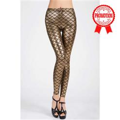 Sexy Leggings, Fashion Low Waist Legging Pants, Cheap Fish Scale Pattern Leggings, Ladies Gold Leggings, #L10264