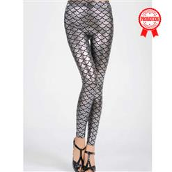 Sexy Leggings, Fashion Low Waist Legging Pants, Cheap Fish Scale Pattern Leggings, Ladies Silver Leggings, #L10266