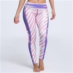 Classical Stripe Graffiti Printed Yoga Pants, High Waist Tight Yoga Pants, Fashion Stripe Graffiti Print Fitness Pants, Casual Stretchy Sport Leggings, Women's High Waist Tight Full length Pants, #L16228