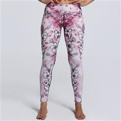 Classical Pink Floral Print Yoga Pants, High Waist Tight Yoga Pants, Fashion Floral Print Fitness Pants, Casual Stretchy Sport Leggings, Women's High Waist Tight Full length Pants, #L16235