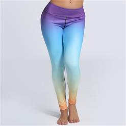 Classical Color Gradient Print Yoga Pants, High Waist Tight Yoga Pants, Fashion Color Gradient Print Fitness Pants, Casual Stretchy Sport Leggings, Women's High Waist Tight Full length Pants, #L16249