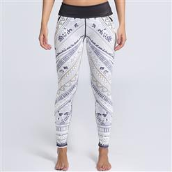 Classical Lovely White Printed Yoga Pants, High Waist Tight Yoga Pants, Fashion Retro Print Fitness Pants, Casual Stretchy Sport Leggings, Women's High Waist Tight Full length Pants, #L16252