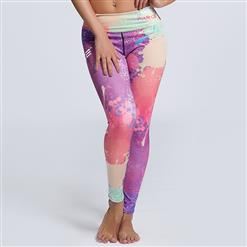 Classical Colorful Graffiti Printed Yoga Pants, High Waist Tight Yoga Pants, Fashion Colorful Graffiti Print Fitness Pants, Casual Stretchy Sport Leggings, Women's High Waist Tight Full length Pants, #L16253