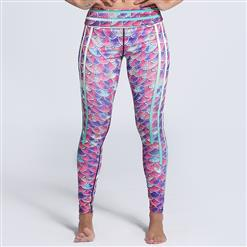 Classical Fish Scale Print Yoga Pants, High Waist Tight Yoga Pants, Fashion Colorful Fish Scale Print Fitness Pants, Casual Stretchy Sport Leggings, Women's High Waist Tight Full length Pants, #L16256