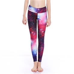 Classical Galaxy Print Yoga Pants, High Waist Tight Yoga Pants, Fashion Galaxy Star Print Fitness Pants, Casual Stretchy Sport Leggings, Women's High Waist Tight Full length Pants, #L16265