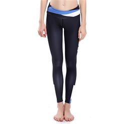 Classical Black Letter Print Yoga Pants, High Waist Tight Yoga Pants, Fashion Color Block Print Fitness Pants, Casual Stretchy Sport Leggings, Women's High Waist Tight Full length Pants, #L16268