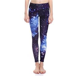 Classical Starry Sky Print Yoga Pants, High Waist Tight Yoga Pants, Fashion Starry Sky Print Fitness Pants, Casual Stretchy Sport Leggings, Women's High Waist Tight Full length Pants, #L16271