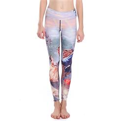 Classical Beauty and Beast Print Yoga Pants, High Waist Tight Yoga Pants, Fashion Beauty and Beast Print Fitness Pants, Casual Stretchy Sport Leggings, Women's High Waist Tight Full length Pants, #L16327