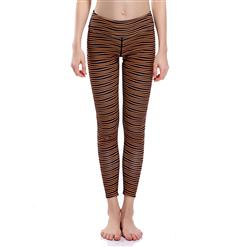 Classical Stripe Print Yoga Pants, High Waist Tight Yoga Pants, Fashion Pinstripe Print Fitness Pants, Casual Stretchy Sport Leggings, Women's High Waist Tight Full length Pants, #L16328