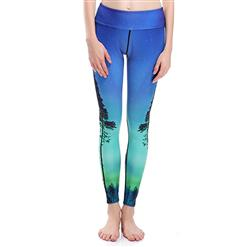 Classical Trees Print Yoga Pants, High Waist Tight Yoga Pants, Fashion Trees Printed Fitness Pants, Casual Stretchy Sport Leggings, Women's High Waist Tight Full length Pants, #L16329