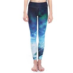 Classical Glacier Print Yoga Pants, High Waist Tight Yoga Pants, Fashion Glacier Printed Fitness Pants, Casual Stretchy Sport Leggings, Women's High Waist Tight Full length Pants, #L16332