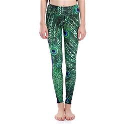 Classical Peacock Print Yoga Pants, High Waist Tight Yoga Pants, Fashion Peacock Printed Fitness Pants, Casual Stretchy Sport Leggings, Women's High Waist Tight Full length Pants, #L16333