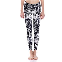 Lovely Forest Rabbit Print Yoga Pants, High Waist Tight Yoga Pants, Fashion Forest Rabbit Print Fitness Pants, Casual Stretchy Sport Leggings, Women's High Waist Tight Full length Pants, #L16336