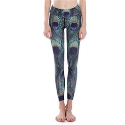 Lovely Peacock Feather Print Yoga Pants, High Waist Tight Yoga Pants, Fashion Peacock Feather Print Fitness Pants, Casual Stretchy Sport Leggings, Women's High Waist Tight Full length Pants, #L16338