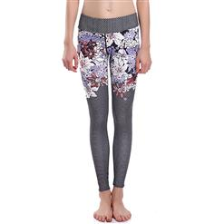 Lovely Floral Print Yoga Pants, High Waist Tight Yoga Pants, Fashion Floral Print Fitness Pants, Casual Stretchy Sport Leggings, Women's High Waist Tight Full length Pants, #L16352