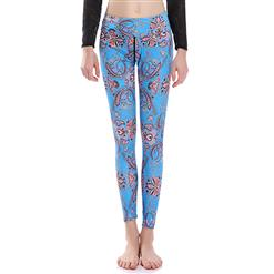 Lovely Printed Yoga Pants, High Waist Tight Yoga Pants, Fashion Printed Fitness Pants, Casual Stretchy Sport Leggings, Women's High Waist Tight Full length Pants, #L16354