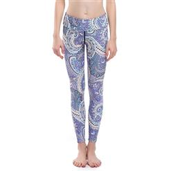 Lovely Printed Yoga Pants, High Waist Tight Yoga Pants, Fashion Printed Fitness Pants, Casual Stretchy Sport Leggings, Women's High Waist Tight Full length Pants, #L16366