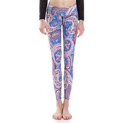 Vintage Printed Yoga Pants, High Waist Tight Yoga Pants, Fashion Printed Fitness Pants, Casual Stretchy Sport Leggings, Women's High Waist Tight Full length Pants, #L16367