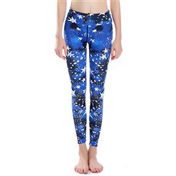 Classical Star Print Yoga Pants, High Waist Tight Yoga Pants, Fashion Star Print Fitness Pants, Casual Stretchy Sport Leggings, Women's High Waist Tight Full length Pants, #L16371