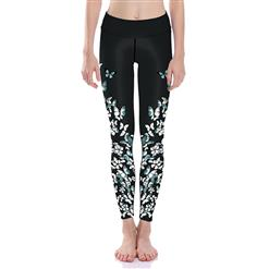 Classical Butterfly Print Yoga Pants, High Waist Tight Yoga Pants, Fashion Butterfly Print Fitness Pants, Casual Stretchy Sport Leggings, Women's High Waist Tight Full length Pants, #L16373