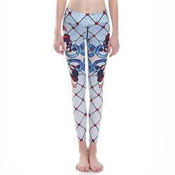 Classical Clown Elements Print Yoga Pants, High Waist Tight Yoga Pants, Fashion Clown Elements Print Fitness Pants, Casual Stretchy Sport Leggings, Women's High Waist Tight Full length Pants, #L16377
