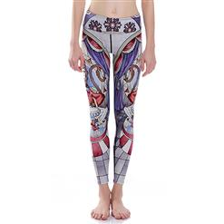 Classical Monkey Print Yoga Pants, High Waist Tight Yoga Pants, Fashion Monkey Print Fitness Pants, Casual Stretchy Sport Leggings, Women's High Waist Tight Full length Pants, #L16378