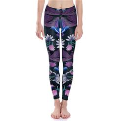 Classical Lotus Print Yoga Pants, High Waist Tight Yoga Pants, Fashion Floral Print Fitness Pants, Casual Stretchy Sport Leggings, Women's High Waist Tight Full length Pants, #L16380