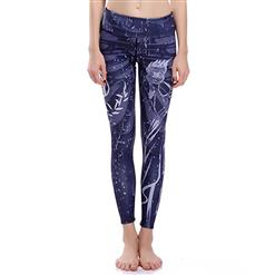Classical Navy Print Yoga Pants, High Waist Tight Yoga Pants, Fashion Printed Fitness Pants, Casual Stretchy Sport Leggings, Women's High Waist Tight Full length Pants, #L16382