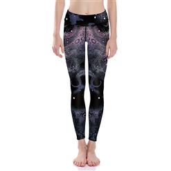 Classical Octopus Print Yoga Pants, High Waist Tight Yoga Pants, Fashion Octopus Print Fitness Pants, Casual Stretchy Sport Leggings, Women's High Waist Tight Full length Pants, #L16383