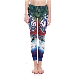 Retro Printed Yoga Pants, High Waist Tight Yoga Pants, Fashion Face Print Fitness Pants, Casual Stretchy Sport Leggings, Women's High Waist Tight Full length Pants, #L16385