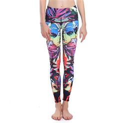 Retro Colorful Print Yoga Pants, High Waist Tight Yoga Pants, Fashion Colorful Print Fitness Pants, Casual Stretchy Sport Leggings, Women's High Waist Tight Full length Pants, #L16386