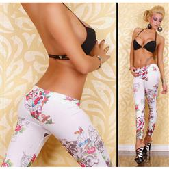 Sexy Legging Pants Tattoo Weiss L5151