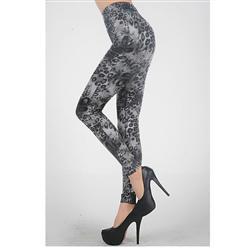 Gray  Leopard Leggings, High Waist Pants, High Waist Leopard  Leggings, #L5195