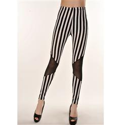 Sexy Stitching Leggings, Gauze Stripes Pants, Stripes Gauze Leggings, #L5441