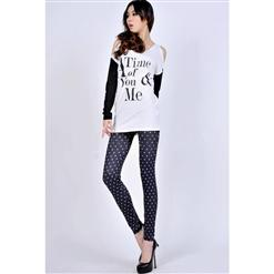 Slim Purple Dot Leggings L5477