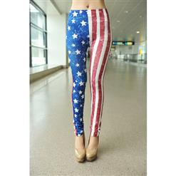 Star Print  and Stripe Leggings, Fashion American Flag Print Leggings, US Flag Tights Jeggings, #L6977