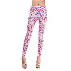 Small Floral Print Jeans, Fashion Seamless Foral Leggings, Colorful Flower Printing Jeggings, #L6987