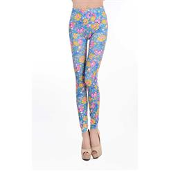 Multicolour Flowers Print Jeans, Fashion Blue Floral Leggings, Colorized  Foral Print  Jeggings, #L6991