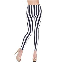 Zebra Print Jeans, Black And White Stripes Leggings, Stripes Print Jeggings, #L6998