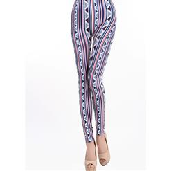 Triangular Vertical Stripes Printed Jeans, Aztec Navajo Tribal Print Leggings, Geometric Stripe Print Jeggings, #L6999