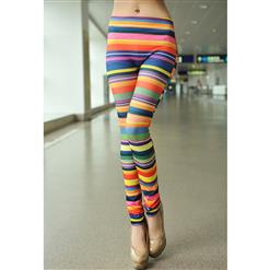 Horizontal Stripes Jeans, Rainbow Color Printing Leggings, Colored Stripes Printed Jeggings, #L7456