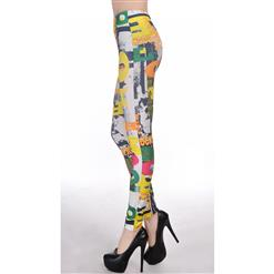 Color Block Letter Printed High-waist Leggings L7459