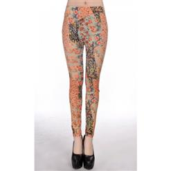 Retro Colorful Pattern Print Jeans, Fashionable Free Painting Leggings, Foral Print Jeggings, #L7472