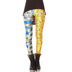 Finn and Jake Leggings, Lovely Cartoon Leggings, Adventure Time Cartoon Pants, #L7850
