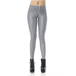 White and Black Leggings, Fashion Plover Leggings, Chic Houndstooth Printing Pants, #L7853