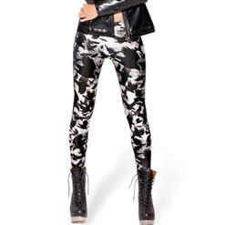 White and Black Leggings, Fashion Pirate Leggings, Raven Printing Pants, #L7854