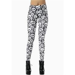 White and Black Leggings, Contort Skull Print Leggings, Funny Skull Print Pants, #L7883