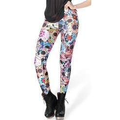 Colorful Skull Leggings, Day of the Dead Leggings, Floral and Skull Print Pants, #L7884